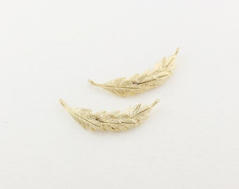 P0009/Anti-Tarnished Matt Gold plating over Brass/Slim Feather Connector /25 x 7.5mm/2pcs