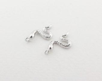P0033/Anti-Tarnished Rhodium plating over Brass/Tiny Snake Charm Pendant/9x16mm/4pcs