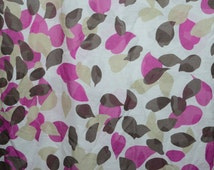 Abstract 100% Cotton Voile Fabric by the Yard - Leaf Motif All-Over Print - Muted Brown, Magenta Pink, Ecru, and White - Semi-Sheer Material