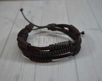 FREE SHIPPING - Brown Leather Bracelet - Unisex Cuff Bracelet