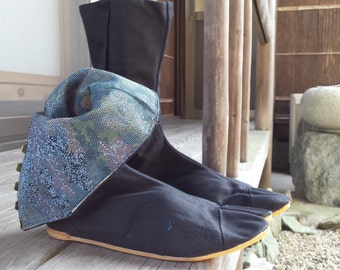 japanese ninja tabi boots, japanese split boots with kimono fabric, japanese work shoes, japanese dance shoes, jikatabi with kimono