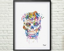 Sugar Skull art print watercolor wall art wall hanging home decor sugar skull decor skull painting