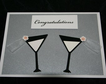Lesbian Wedding Card - two martinis with congratulations