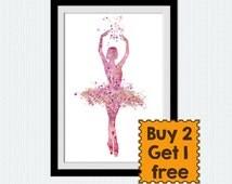 Ballerina poster, Ballerina print, pink watercolor art, little girl dance poster, kids room wall art, nursery decor, watercolor print, W185