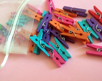 Mini Clothespins / Colorful Clothespins / Tiny Clothespins / Cute DIY / Wooden Clothespins / Clothespins For Crafts / Clothespins Pack of 30