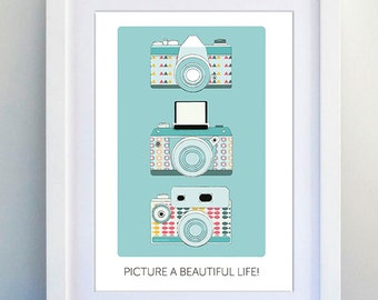 Instant Download ~ Printable Art ~ A4 ~ Blue ~ Camera ~ Inspiration ~ Handmade