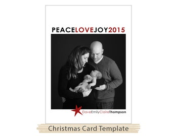 Christmas Card Template | Stars | Photoshop Template | Instant Download