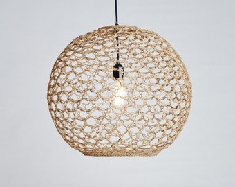 Ceiling lamp | 'The rope Orb' crochet pendant