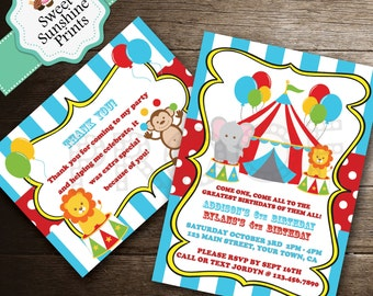 Carvival/Circus Theme Invitation and Thank You Note Set