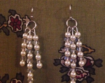 Ivory glass pearl and clear seabead handmade chandelier earrings