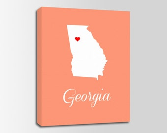 Georgia Canvas Etsy - Georgia map label