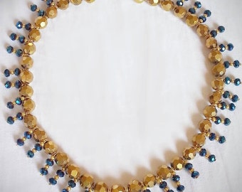 New Handmade Beaded Necklace with Gold & Blue Swarovski crystal Beads and gold plated components Jewelry by Georgia
