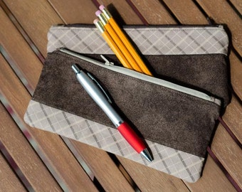 Blow-out sale!! Brown pencil case, fully lined zippered pouch.
