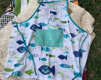 Summer sale! Flour sack apron/ blue and green fish apron/ ocean apron