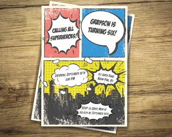 Superhero Comic Kids Birthday Party Invitation - VINTAGE LOOK, Retro - Digital File, Printable