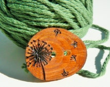 Cypress wood button, Dandelion button, wood buttons for knitting, crocheting, sewing and scrapbooking