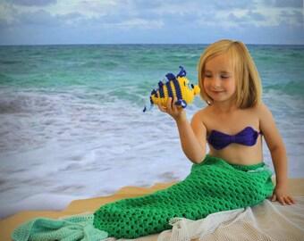 Girls Little MERMAID Ariel set, Little Mermaid tail, Mermaid and FLOUNDER doll, Disney Little Mermaid, Girls mermaid photo prop