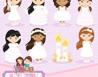 Girls First Communion 2, Girls, Communion, Clipart, Gabz