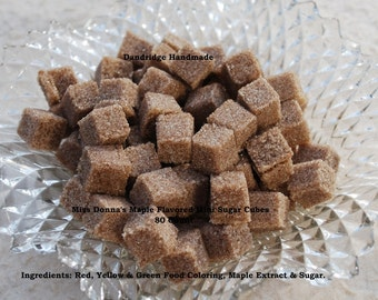 Miss Donna's Maple Flavored Mini Sugar Cubes - 80 Cubes Per Bag - Great for Weddings, Tea Parties, Special Events, Toasts & Favors