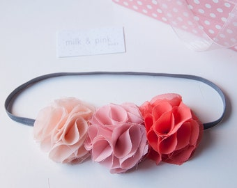 Flower Headband, Chiffon Flower Headband, Newborn Headband, Infant Headband, Baby Headband, Toddler Headband, Newborn Headband, Baby Gifts