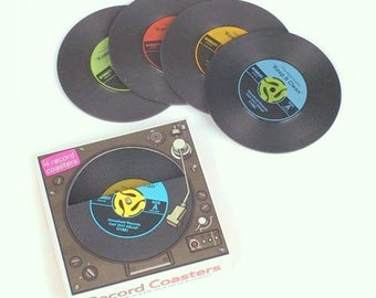 vintage style rubber 45's  record coasters
