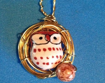 Owl nest necklace with owlet