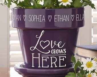 Love Grows Here Personalized Flower Pot- Purple