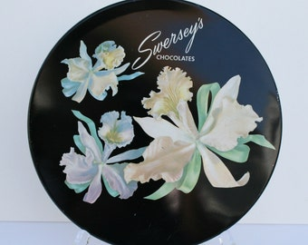 Vintage candy tin, orchids, Swersey's chocolates, collectible tin