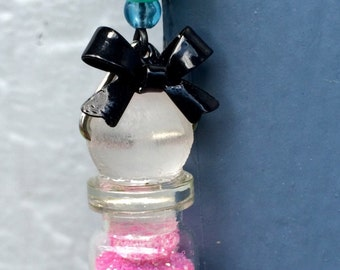 Glitter Rainbow Bottle with Long Black Chain