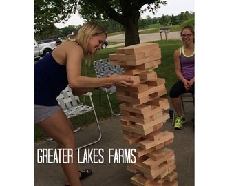 Giant Jenga Inspired Tower Medium -unsanded, Ready to Ship (backyard, wedding game, wedding guest book)