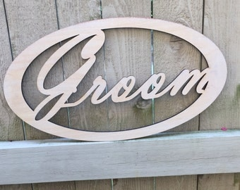 Raw wood Bride and Groom Wedding Signs