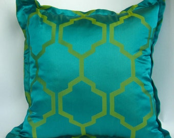 16x16 blue and green double sided cushion with Moroccan design and stripes