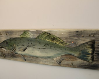 Speckled Trout - Handpainted speck on cypress plank with barnacles and oyster shell embossed into finish.