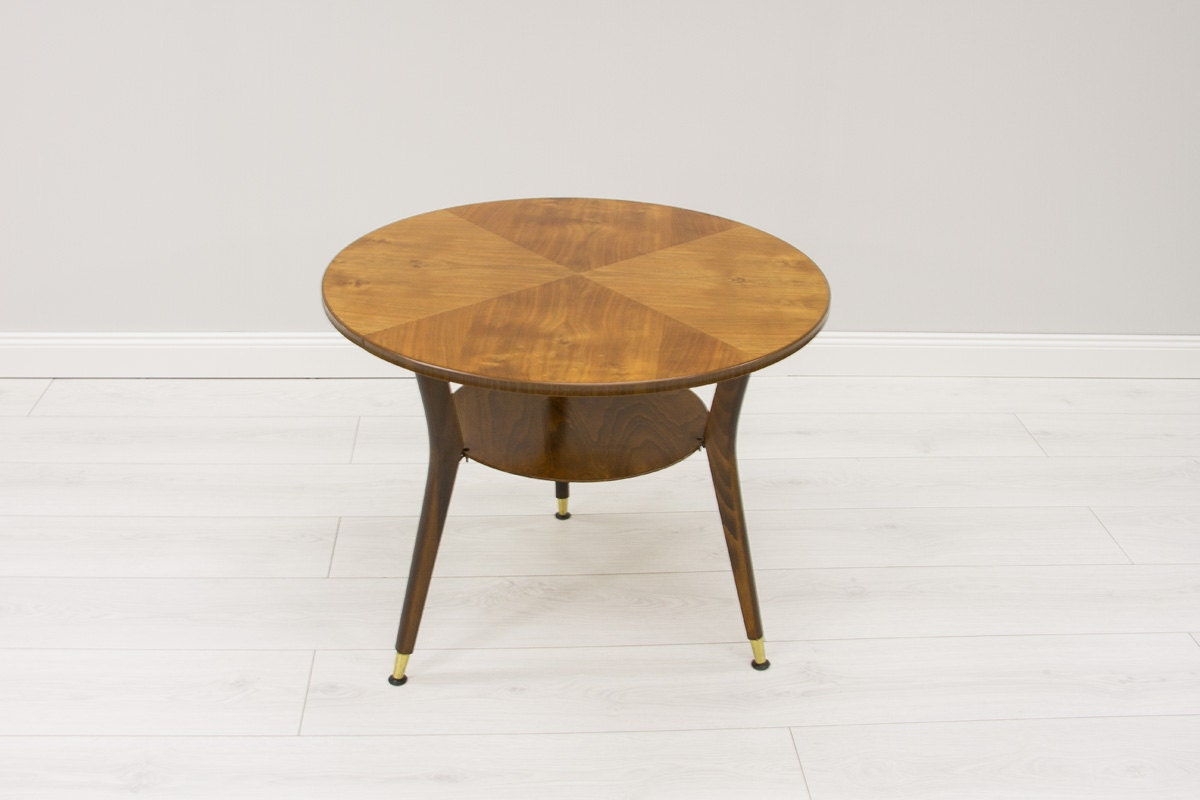 Mid Century Coffee Table Round Shaped Wood Vintage Design Retro Antique Brown Walnut 50s 60s