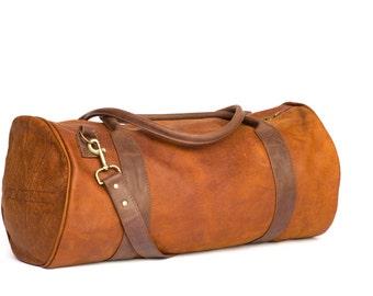 Leather Travel Bag, Weekend bag, Leather Duffel Bag, Women Duffel Bag, Mens Duffel Bag, Handmade Leather Bag - ROWDY CORSICA