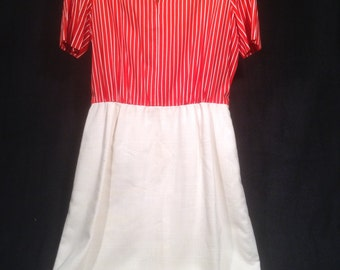 Vintage 50s Red and White Dress