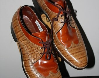 Vinage Wingtip Oxford Stacy Adams 9.5 2 Tone Alligator Leather Rust Chestnut Hipster Gangster Zoot Suit Rockabilly