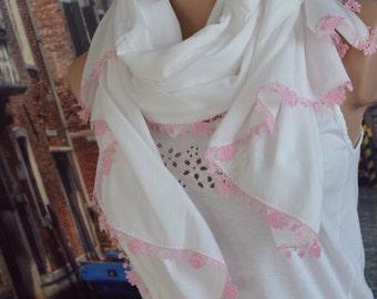 Turkish Yemeni Scarf/ Boho cotton shawl/ Oya Scarf/  Fall Winter Spring Summer Scarf/ Crochet scarf/ Women Fashion accessories head wrap