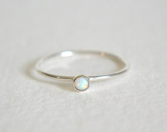 Sterling Silver Opal Ring, Silver Opal Ring, Opal Ring Silver, Stacking Ring, Stackable Ring, Dainty Opal Ring, White Opal Ring