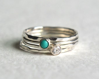 Set of Four Sterling Silver Turquoise Ring, Silver Stacking Ring, Dainty Ring, Hammered Stackable Ring, CZ Gemstone, Turquoise Ring, Simple