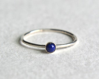 Sterling Silver Lapis Lazuli Ring, Lapis Lazuli Ring Silver, Silver Lapis Ring, Stacking Ring, Stackable Ring, Dainty Ring, Simple Ring