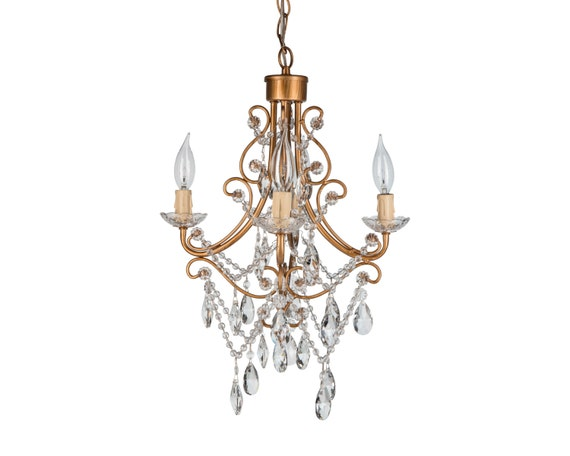 Gold Mini Crystal Chandelier 4 Lights Swag By