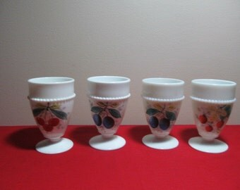 Westmoreland Beaded Edge Decorated Footed Tumblers Set of Four
