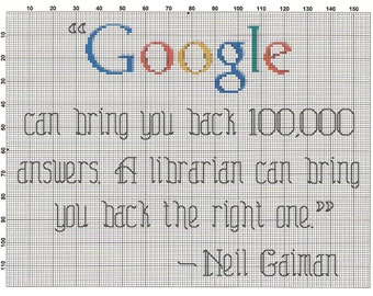 Neil Gaiman Google/Librarian QUOTE Cross Stitch Pattern ~ Instant PDF Download!