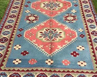 Large soft blue vintage wool Turkish rug 7x10ft