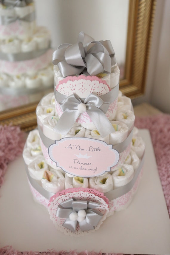Baby Girl Damask Pink Amp Gray Diaper Cake Baby Shower
