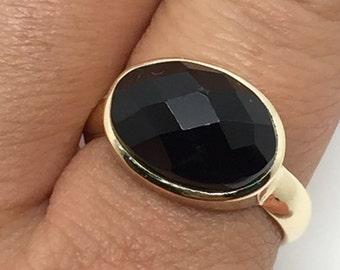 Goldring mit schwarzem stein  Gold ring stone | Etsy