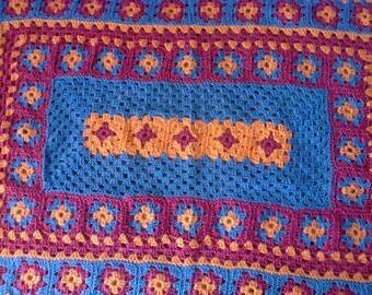 Child's Orange/blue/pink snuggle blanket