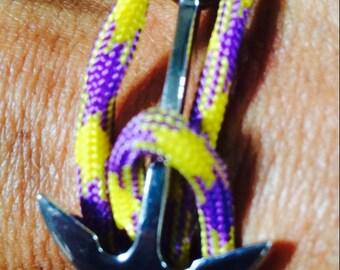 Purple & Gold Anchor Bracelet