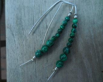 Malachite & Sterling Silver Wire Earrings